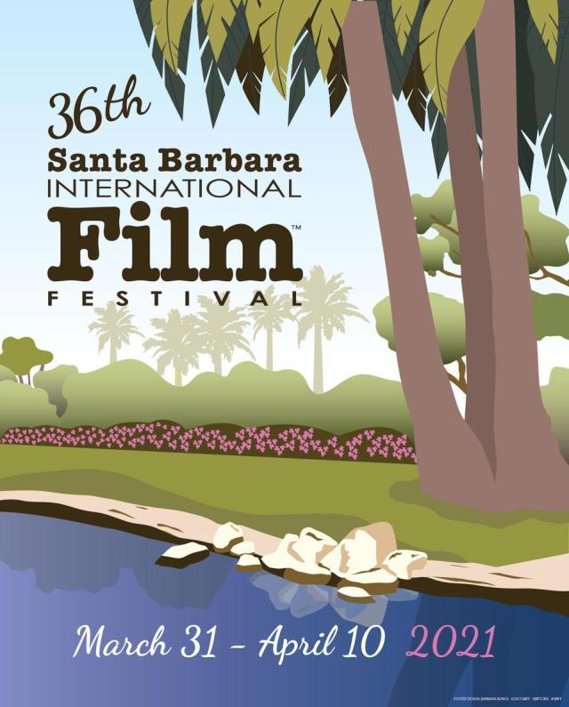 An illustration of palm trees and the beach for the 26th SBIFF