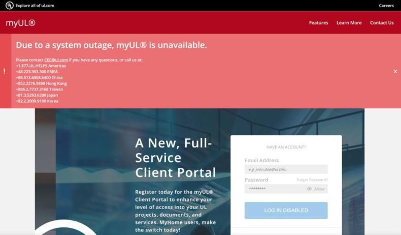 An outage notification is displayed on the myUL web portal.
