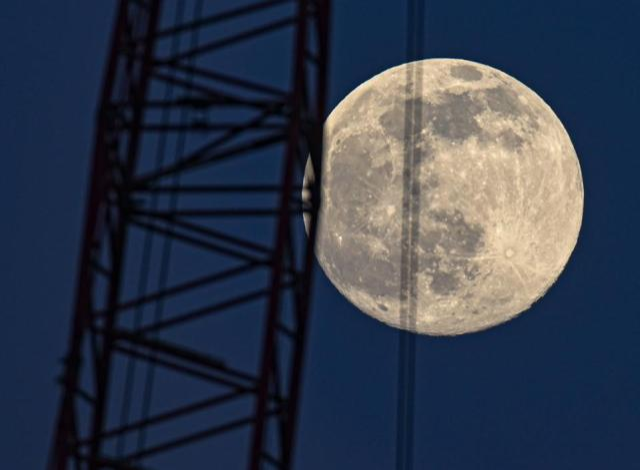 Moon shines over Brandenburg