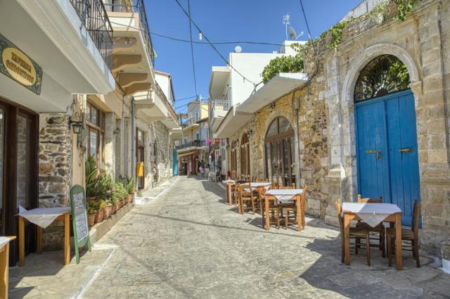 Streets and stores in Panormos in Rethymno, Crete