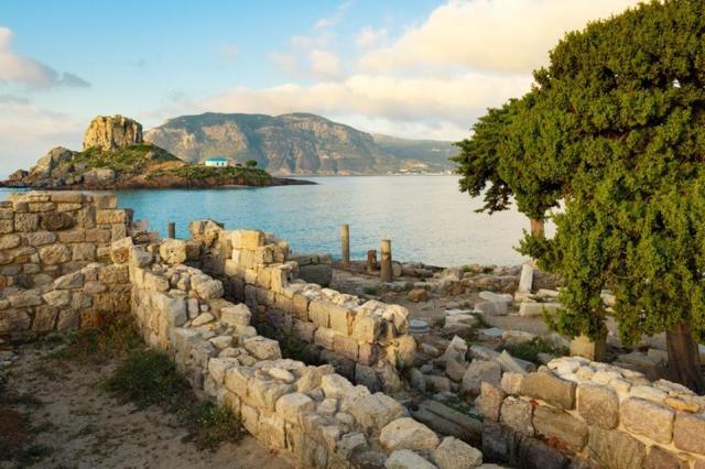 Ancient ruins  in Kefalos bay, Kos island, Greece.