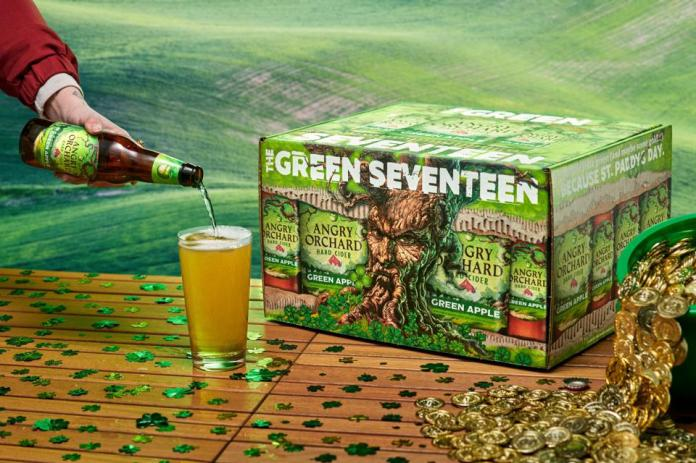 A 17-pack of Angry Orchard's Green Apple hard cider