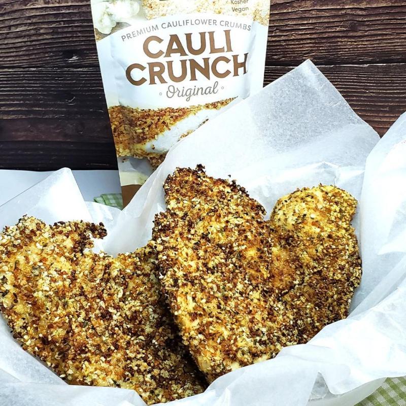 Cauli Crunch Breaded chicken fingers in a basket. Delicious!