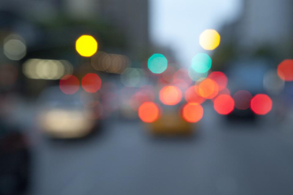 Out of focus lights of NYC traffic