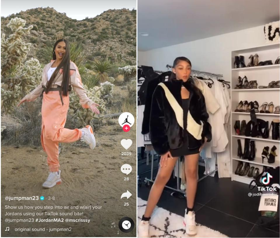 TikToks with a Female Influencer Showing Her Jordan Brand Sneakers