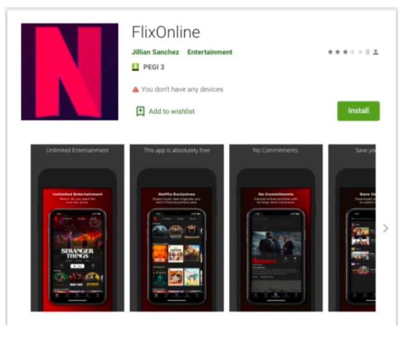 FlixOnline Malware on Google Play Store