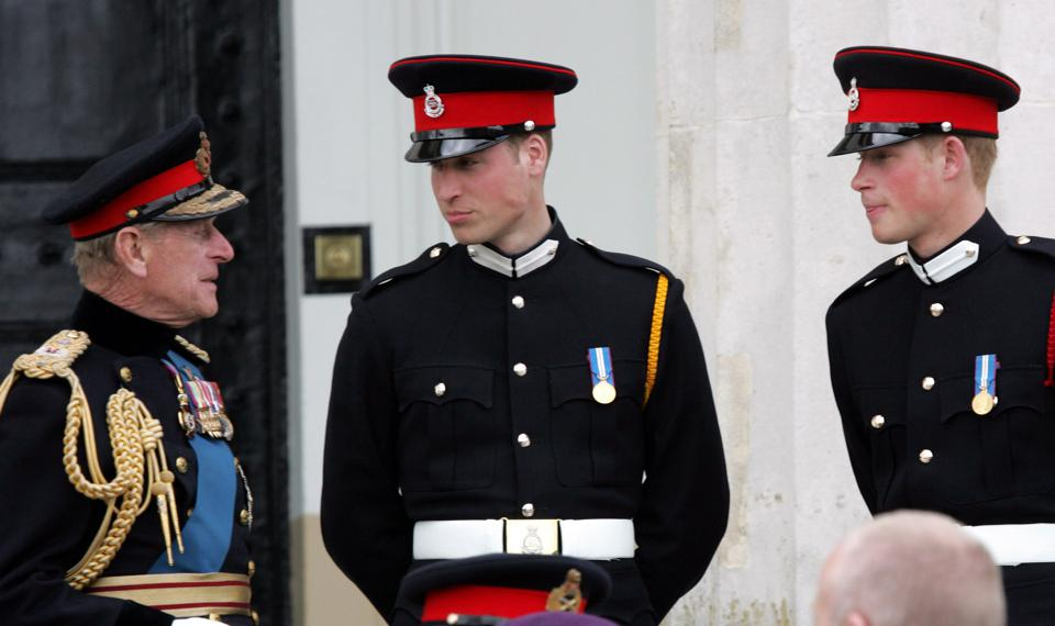 Prince Harry, Prince William and Prince Philip