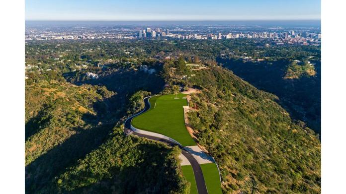2001 Benedict Canyon Dr angelo drive at enchanted hill aerial of paul allen estate LA