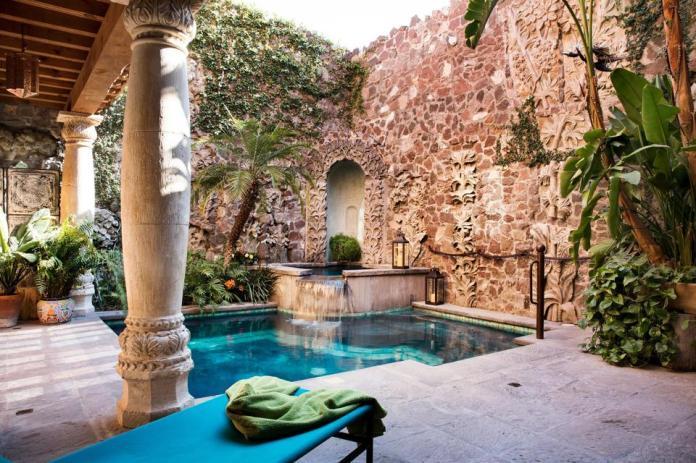 stone walls swimming pool san miguel de allende custom compound