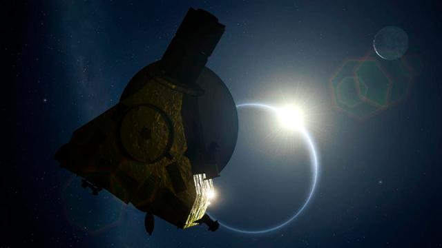 New Horizons and Backlit Pluto, illustration