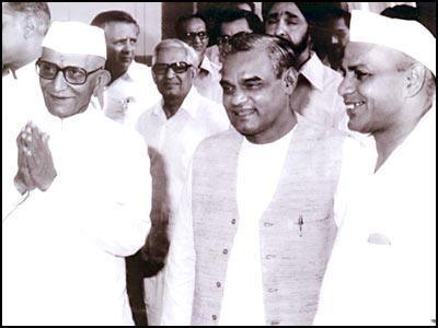 Image result for vajpayee indira morarji