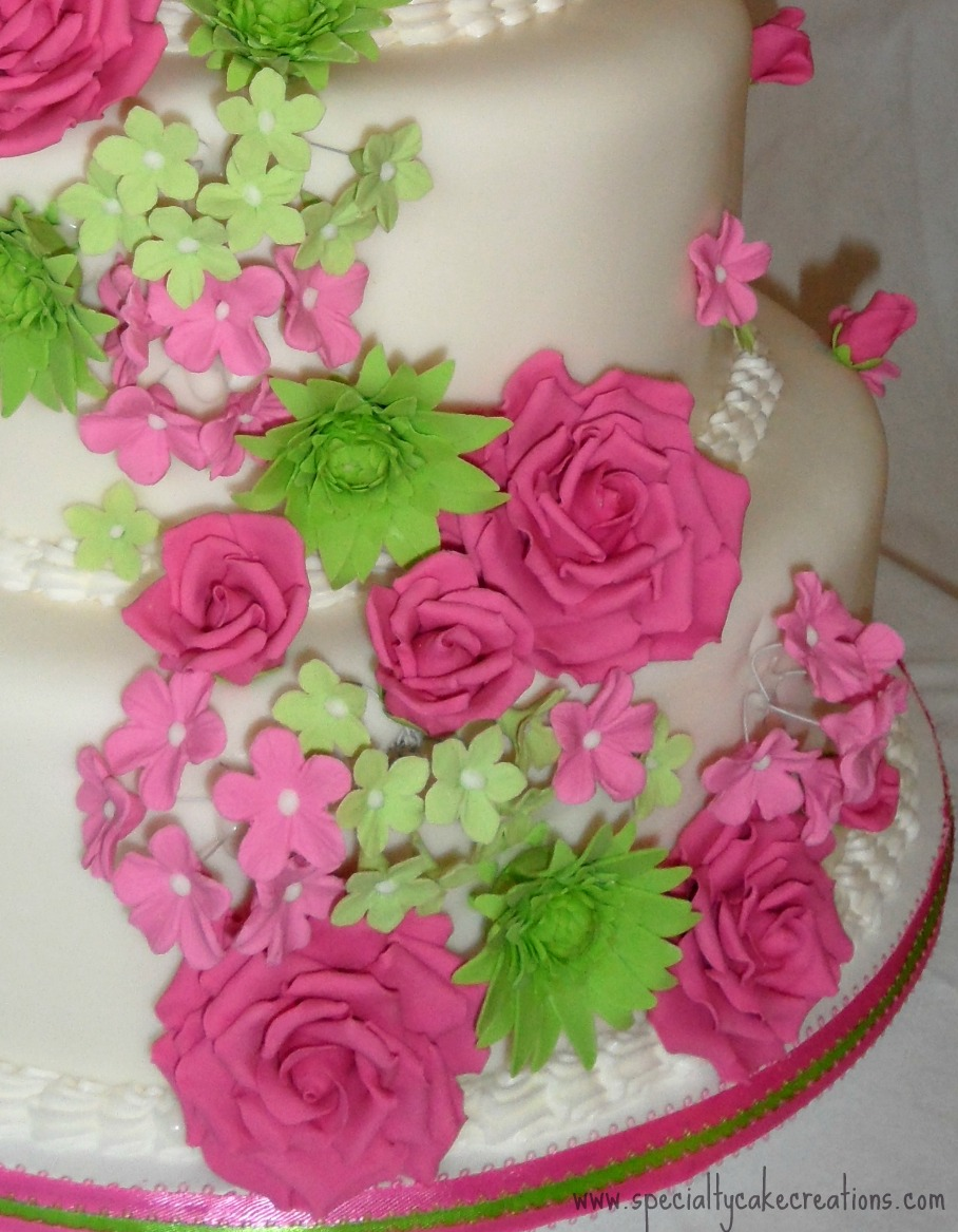 Specialty Pink and Green Wedding Cake | Specialty Cakes: Kelowna