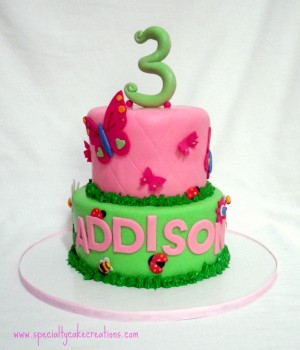 Pink and Green Garden Girl Birthday Cake