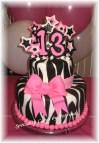 Hot Pink Zebra Birthday Cake