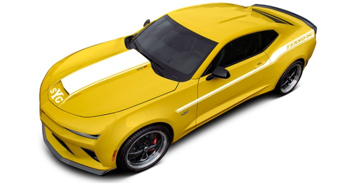 2018 Yenko Camaro Bright Yellow with White Stripes
