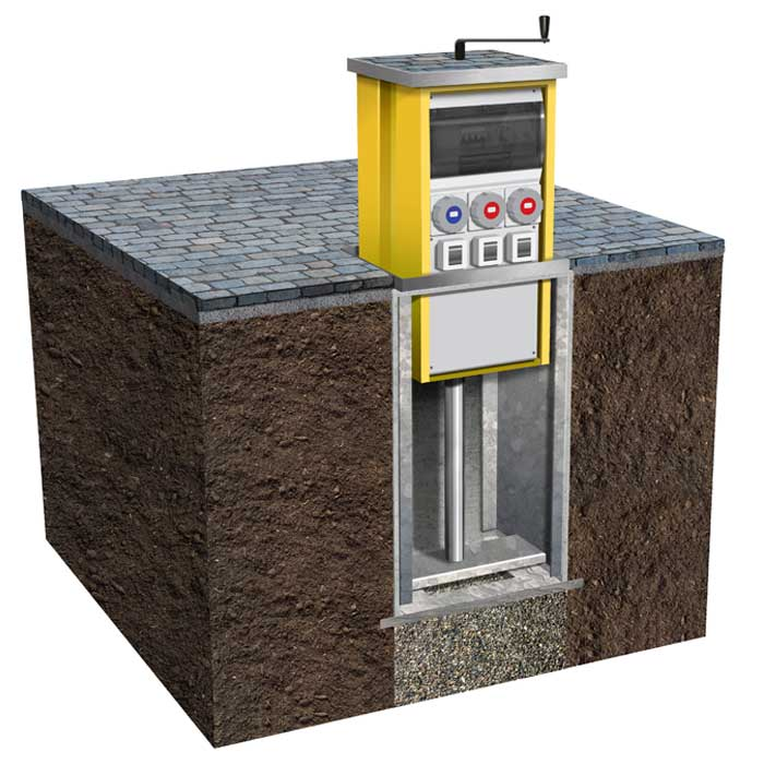 Pop Up Power Supplies® offer retractable service units which supply electricity, water and air to public spaces