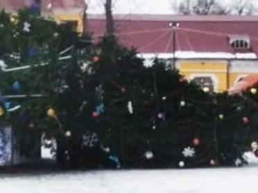 У Хмельницькій області здуло головну ялинку міста