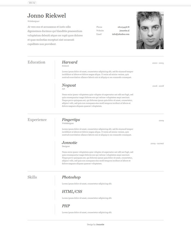 10 Free Professional Html And Css Cvresume Templates Web Design Tips - Cv-resume-template-css