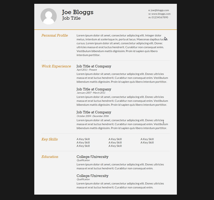 example of resume html code
