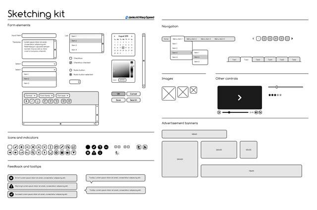 Sketching & Wireframing Kit (.ai, .eps, .pdf & .svg)