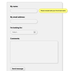 Web Form with Field Hints (CSS3)