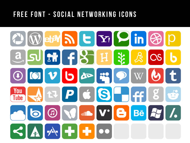Social Networking Icons Font @fontface font