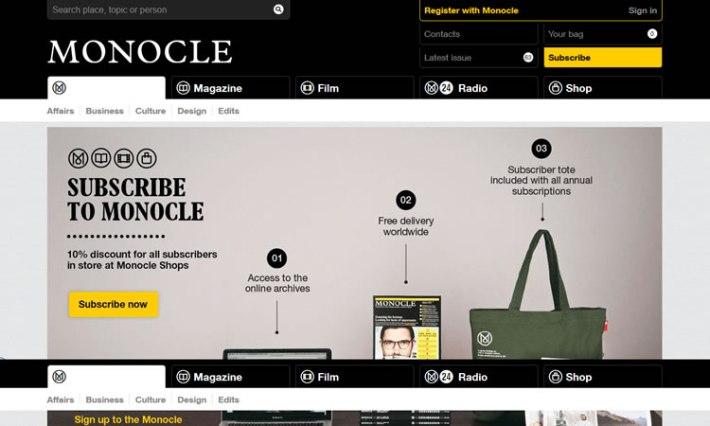 content heavy websites Monocle Inspiration