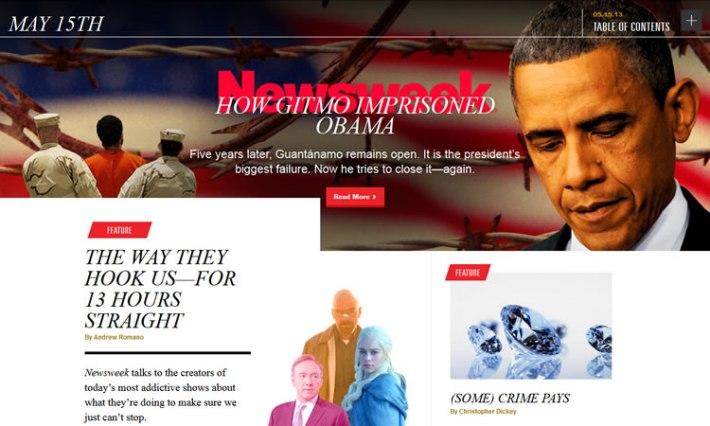 Newsweek content heavy web design Inspiration