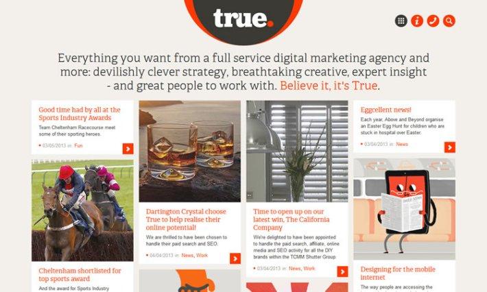 True Digital content heavy web design Inspiration