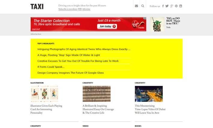 DesignTAXI content heavy web design Inspiration