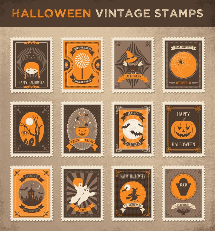 halloween vintage stamps illustrator svg ai eps svg photoshop psd