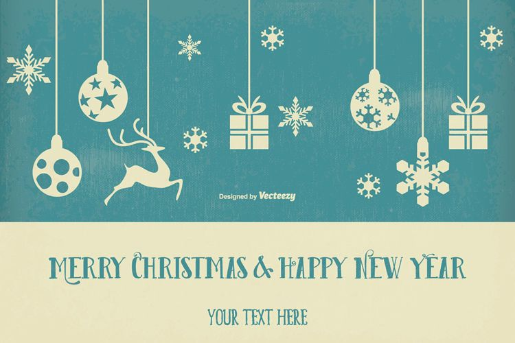 Vintage Retro Style Christmas & New Year Illustration free holidays
