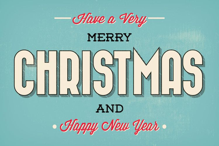 Merry Christmas Typographic Christmas Greeting Illustration free holidays