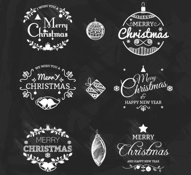 Blanco y negro Vector insignias de Navidad Pack vacaciones gratis
