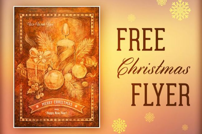 Vacaciones de Flyer de Navidad Retro hechas a mano gratis