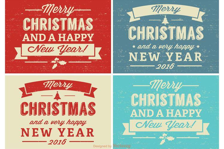 Etiqueta de Navidad retro apenado establecer vacaciones gratis