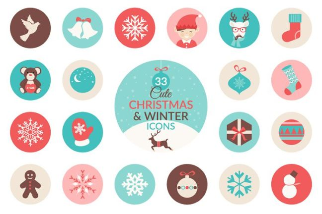 33 Christmas Winter Icon Set vacaciones gratis