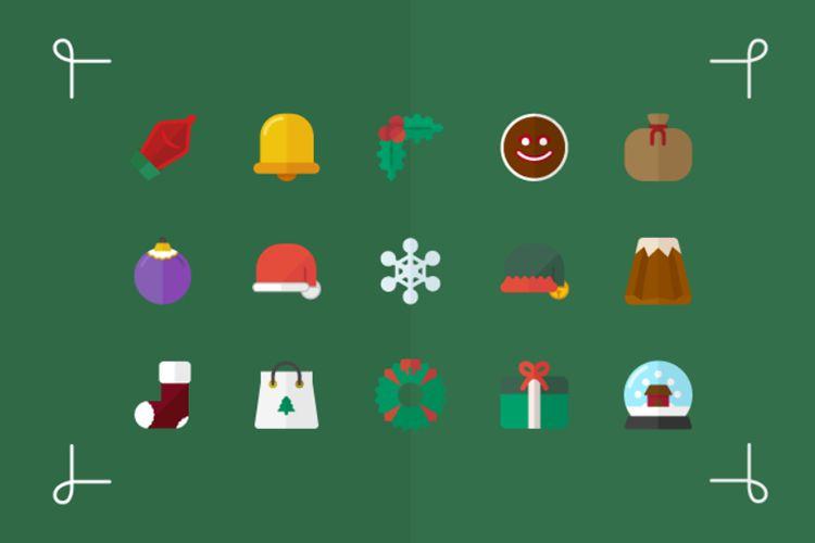 15 iconos de Vector plano para vacaciones gratis de Navidad