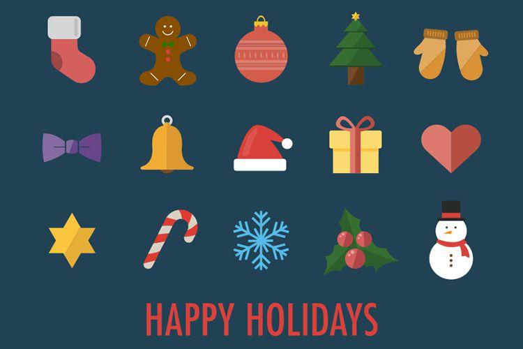 15 Flat Christmas Icons vacaciones gratis