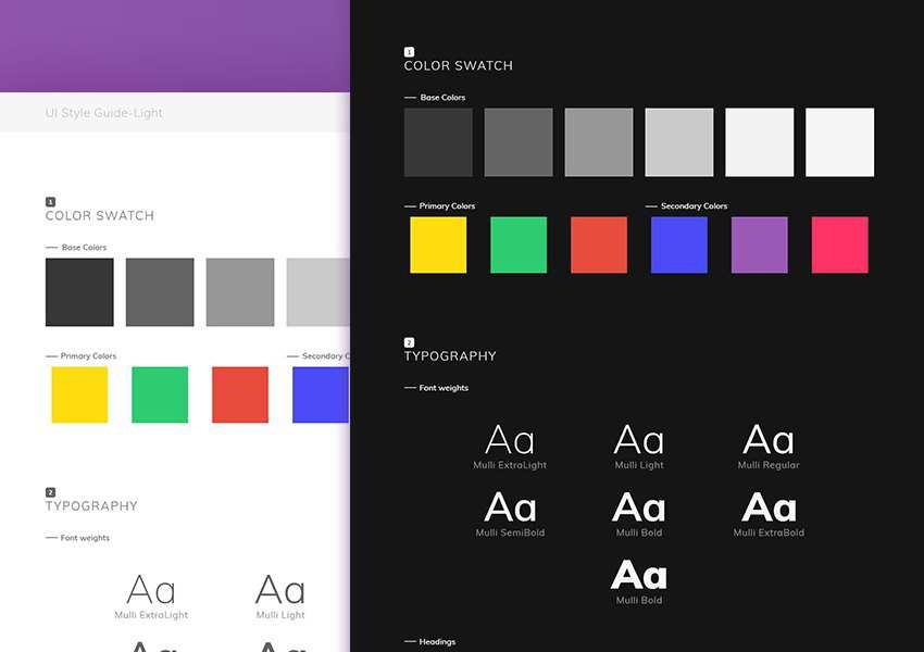 Adobe XD Free UI Styleguide