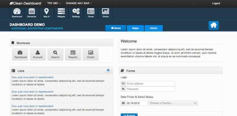 Clean Dashboard Responsive Bootstrap Kit UI Free Theme