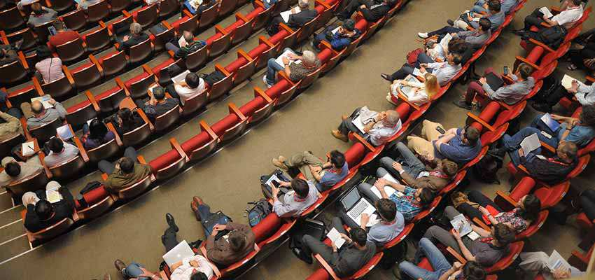 People sitting in an auditorium
