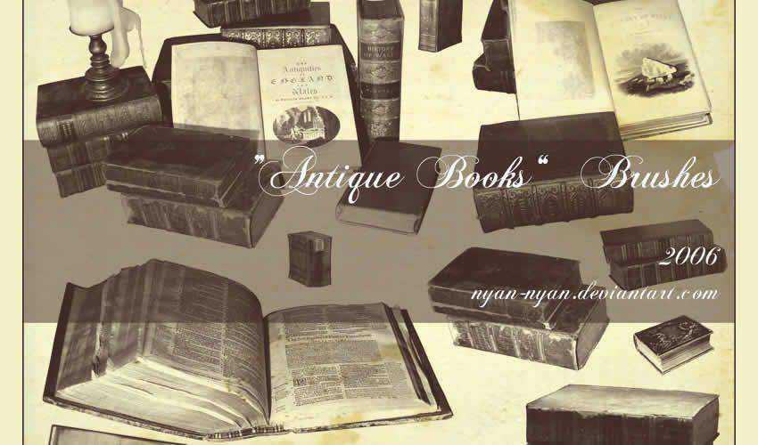 book vintage antique adobe photoshop ps brush brushes abr pack set free