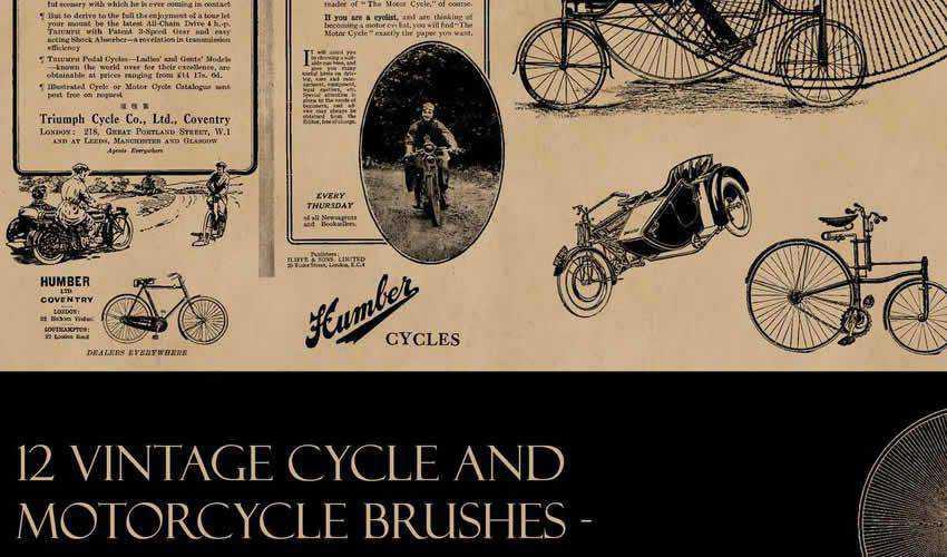 cycle bike transport vintage antique adobe photoshop ps brush brushes abr pack set free