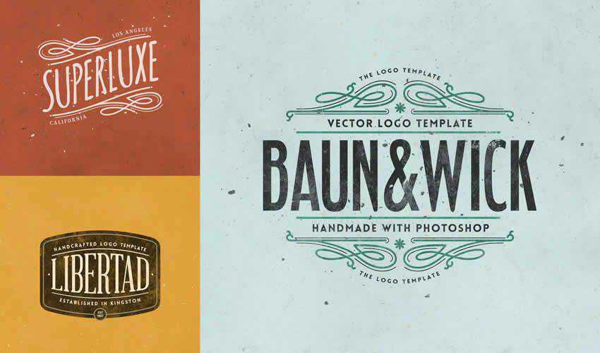 Retro Logo Templates adobe photoshop ps pack set