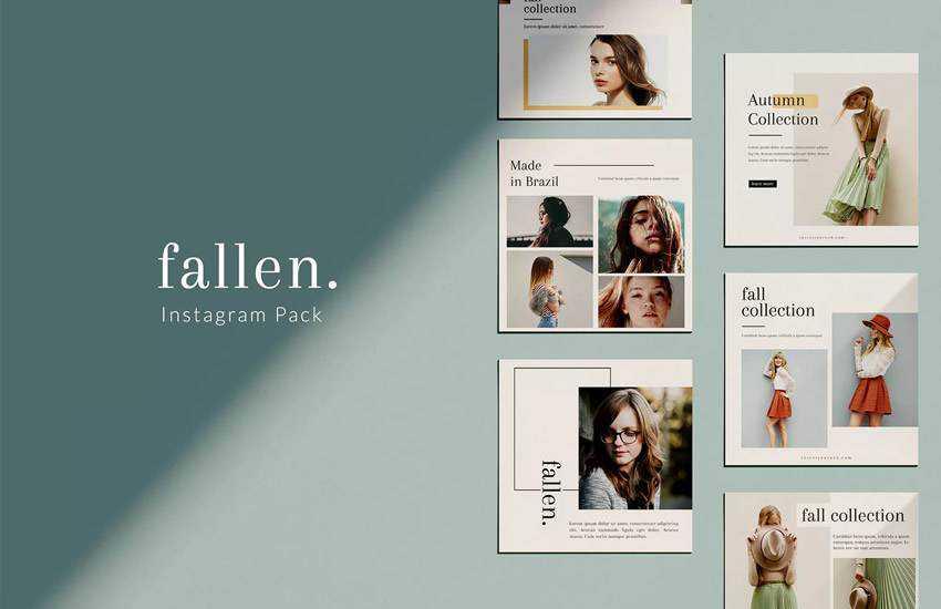 Fallen pack instagram social media template pack format Adobe Photoshop
