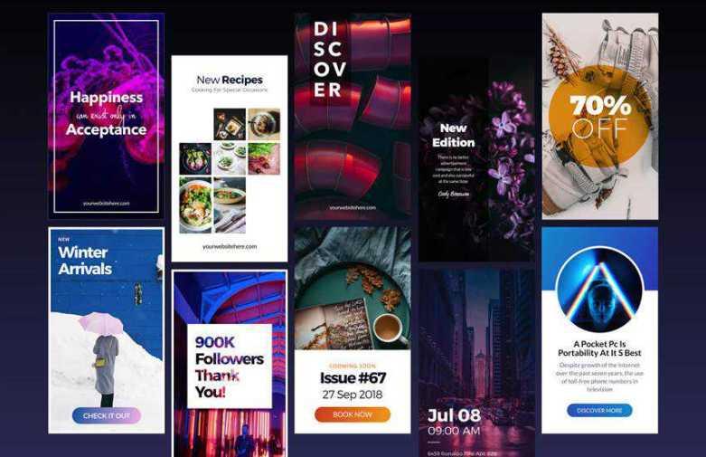 Stories Vol 2 instagram social media template pack format sketch app