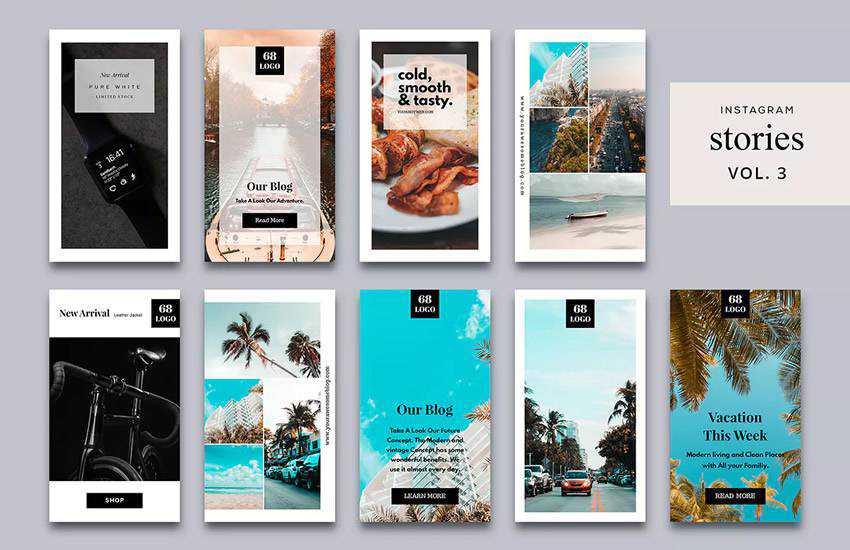 Stories Vol. 3 instagram social media template pack format Adobe Photoshop