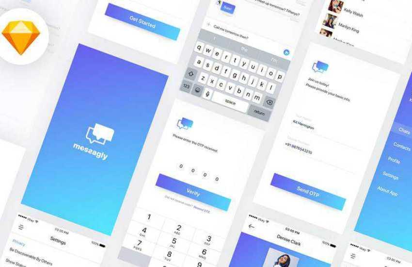 Messagly sketch mobile app ui kit sketch ux format free design creative sketch.app