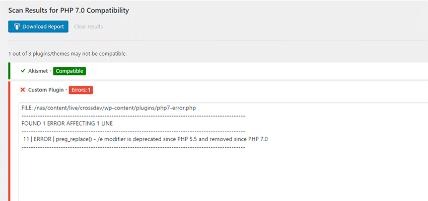 Report generated by PHP Compatibility Checker.